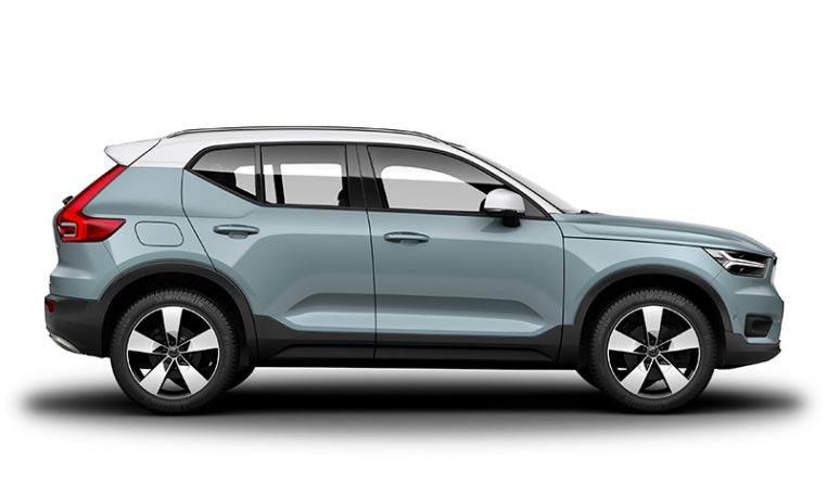 Side photo of the Volvo XC40 R-Design in Amazon Blue with Ice White Roof