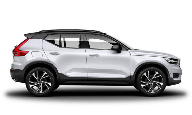 Side photo of the Volvo XC40 R-Design in Crystal White Pearl with Black Stone Roof
