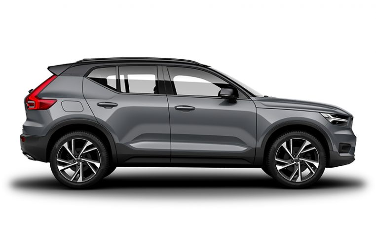 Side photo of the Volvo XC40 R-Design in Osmium Grey with Black Stone Roof