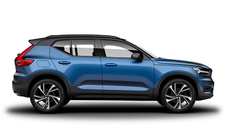 Side photo of the Volvo XC40 R-Design in Bursting Blue with Black Stone Roof