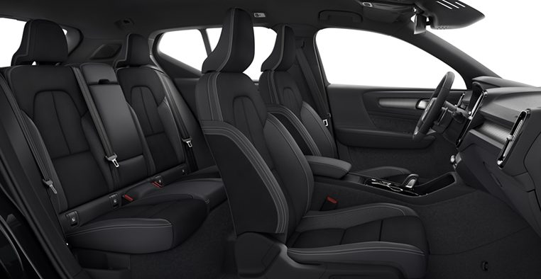 Interior shot of the Volvo XC40 R-Design in Charcoal with Charcoal Leather Nubuck Seats