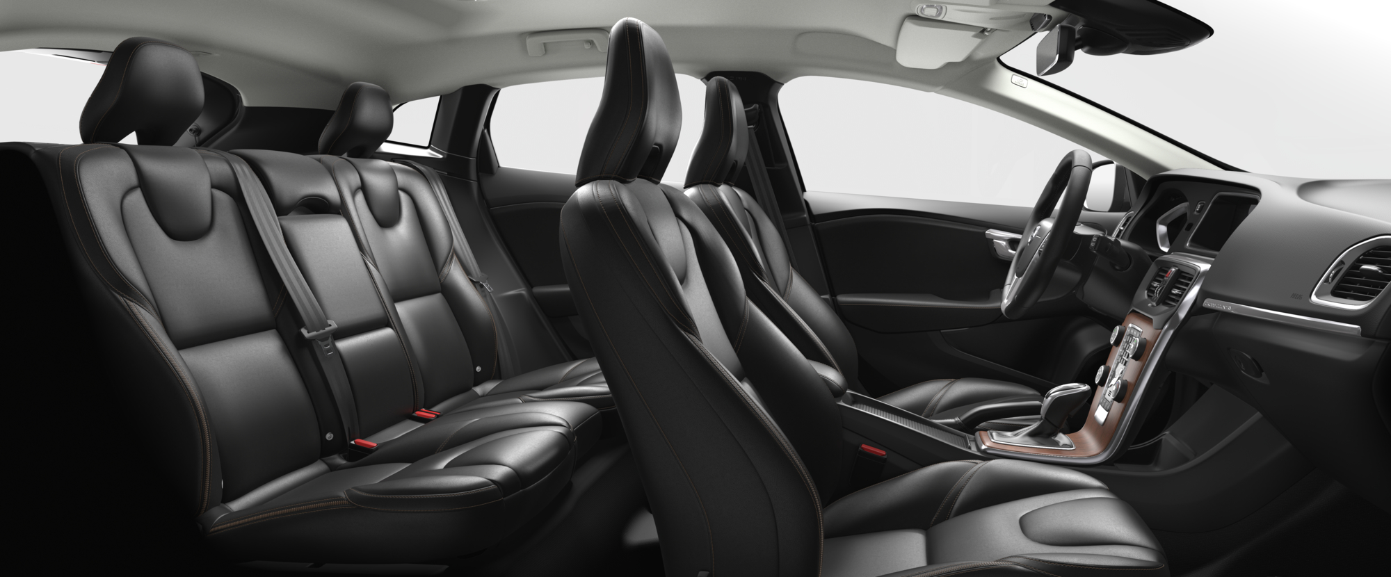 Interior shot of the Volvo V40 Cross Country with Charcoal Leather Seats