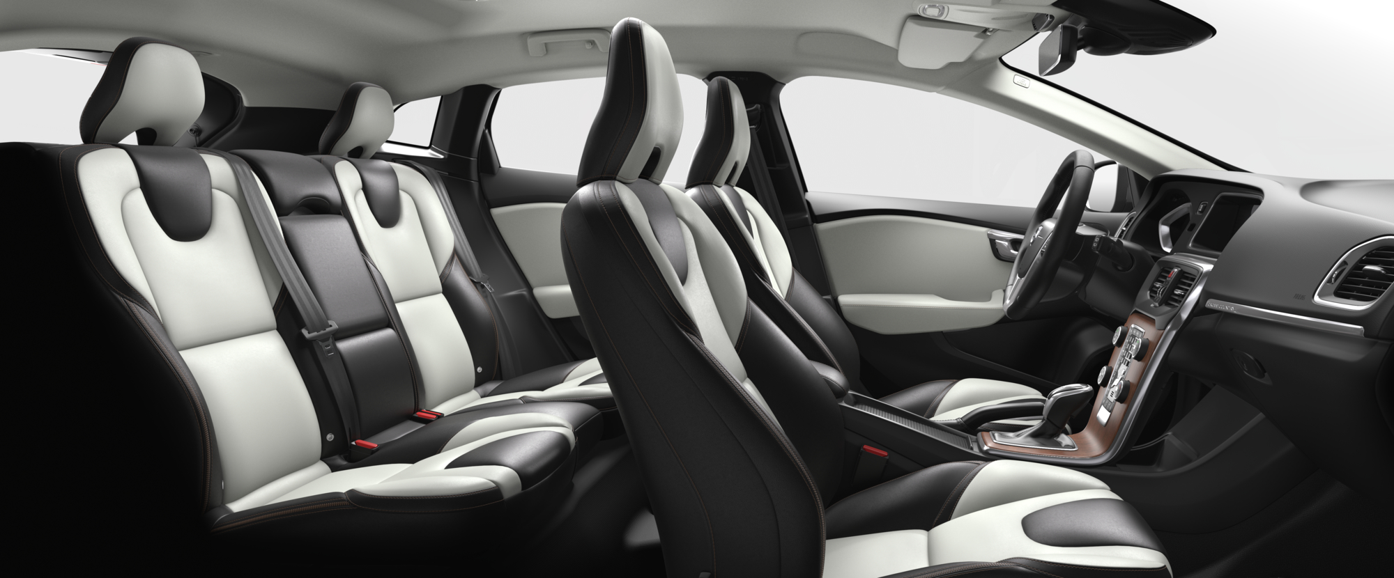Interior shot of the Volvo V40 Cross Country with Blond / Charcoal Leather Seats