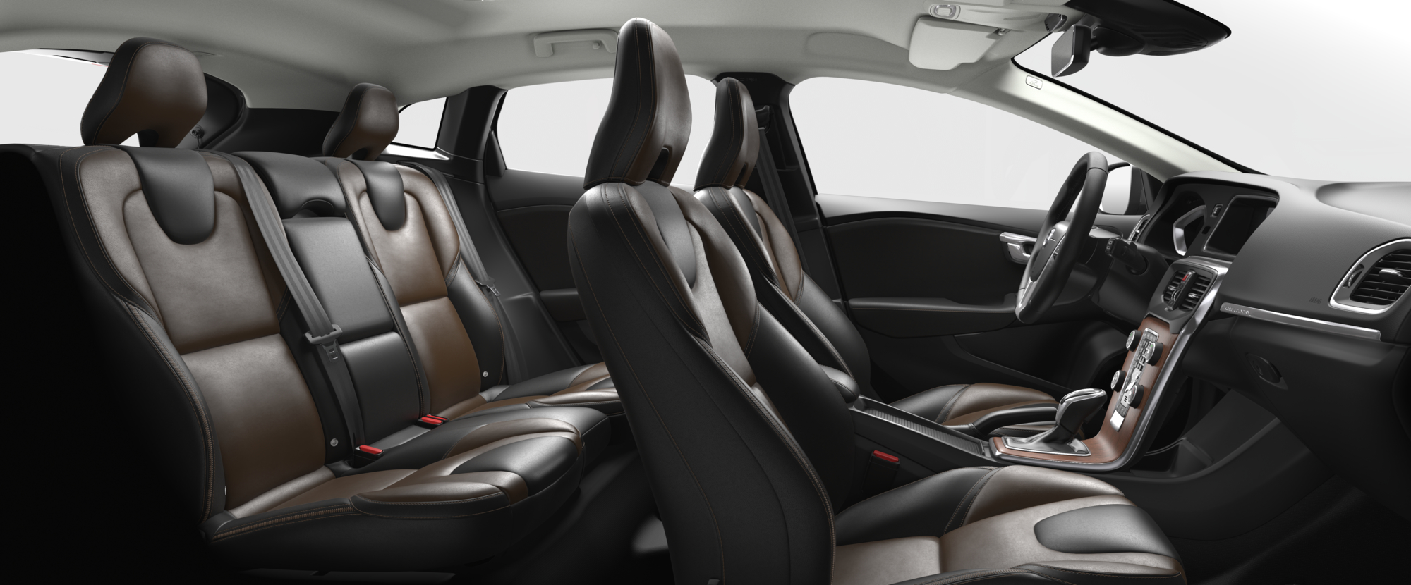 Interior shot of the Volvo V40 Cross Country with Hazel Brown / Charcoal Leather Seats