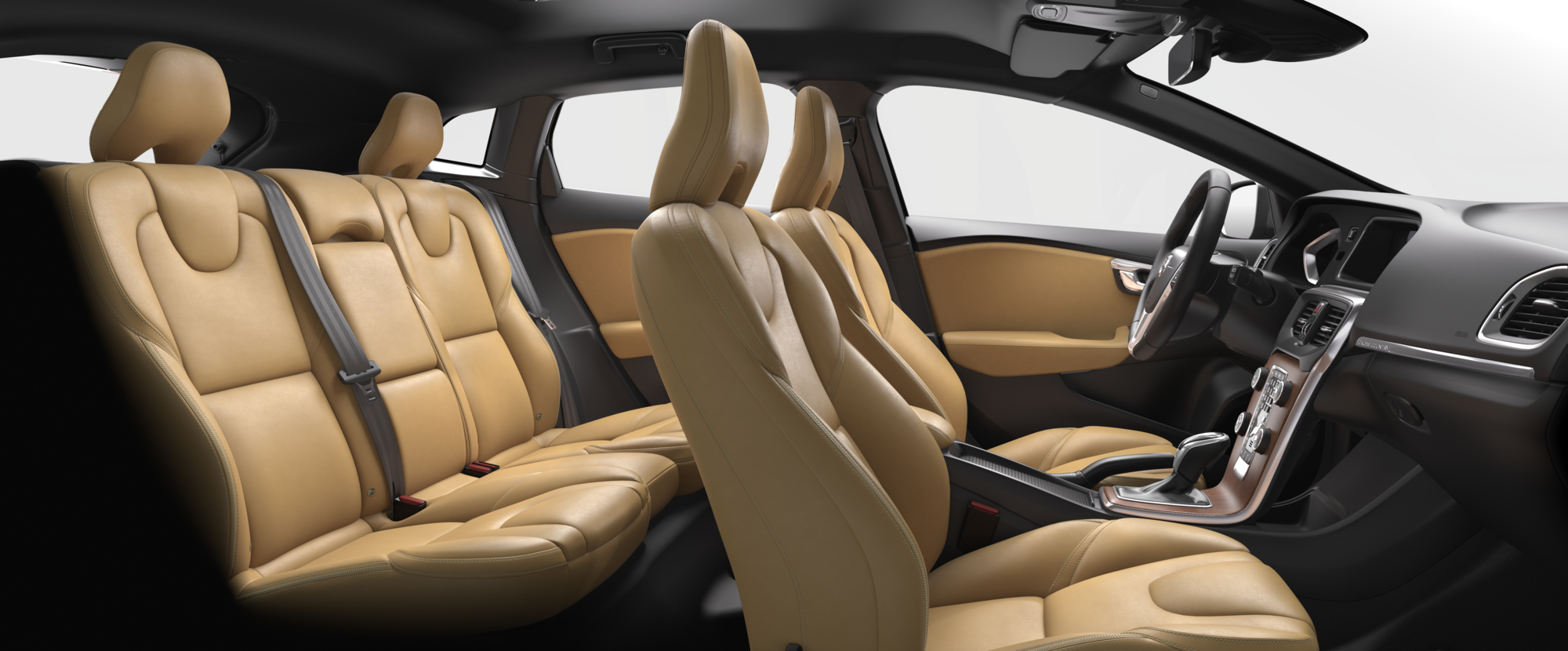 Interior shot of the Volvo V40 Cross Country with Amber Leather Seats