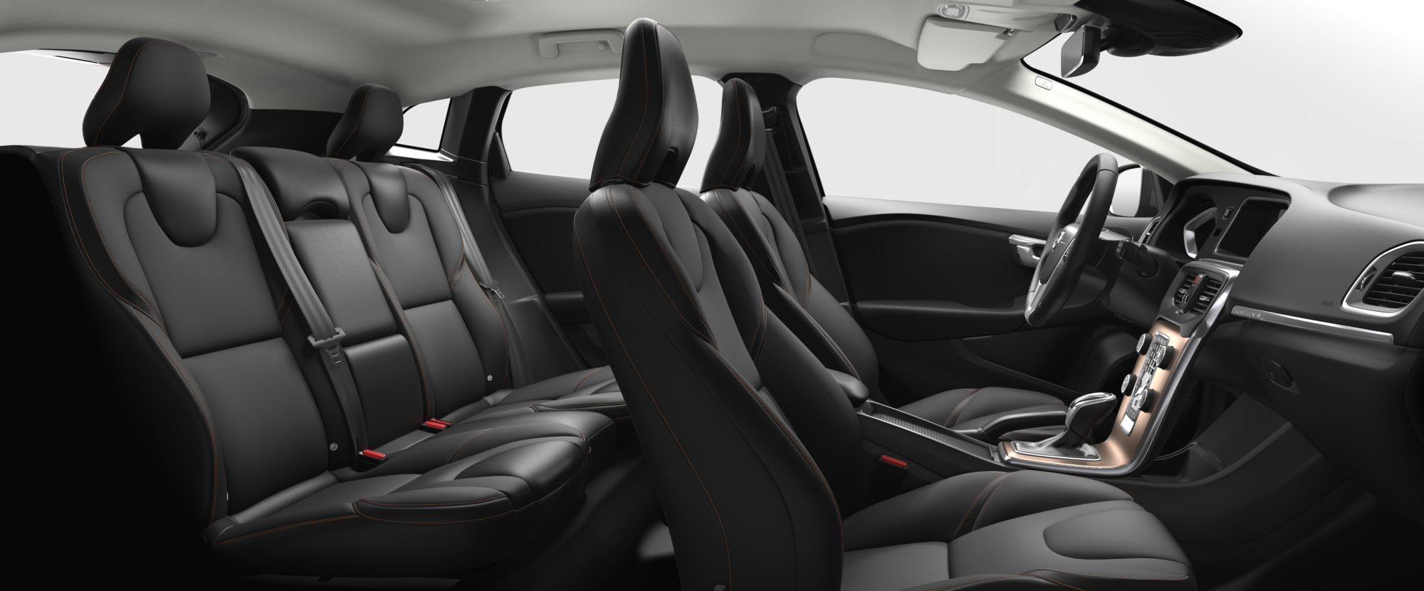 Interior shot of the Volvo V40 Cross Country with Charcoal T-Tec Seats