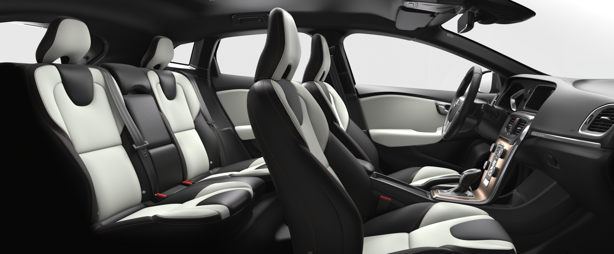 Interior shot of the Volvo V40 Cross Country with Charcoal / Blond T-Tec Seats