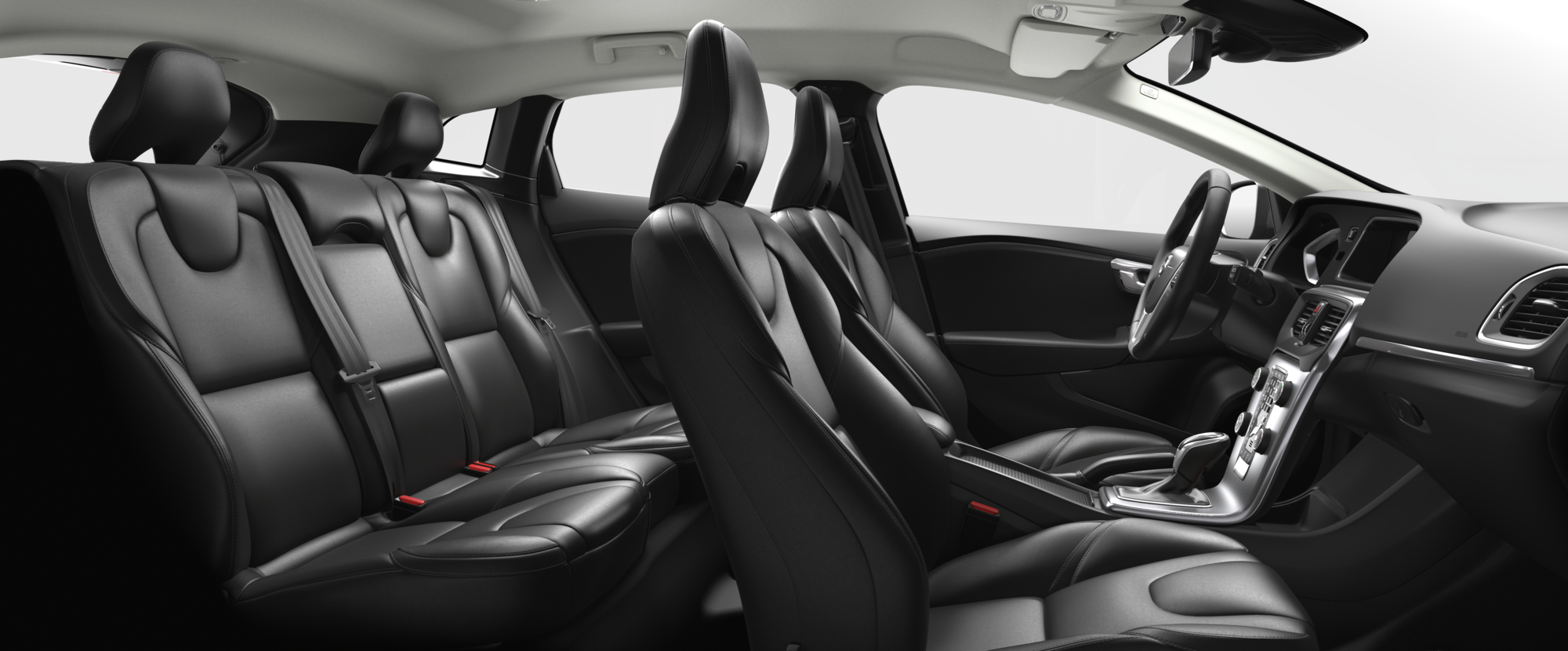 Interior shot of the Volvo V40 with Charcoal Leather Seats