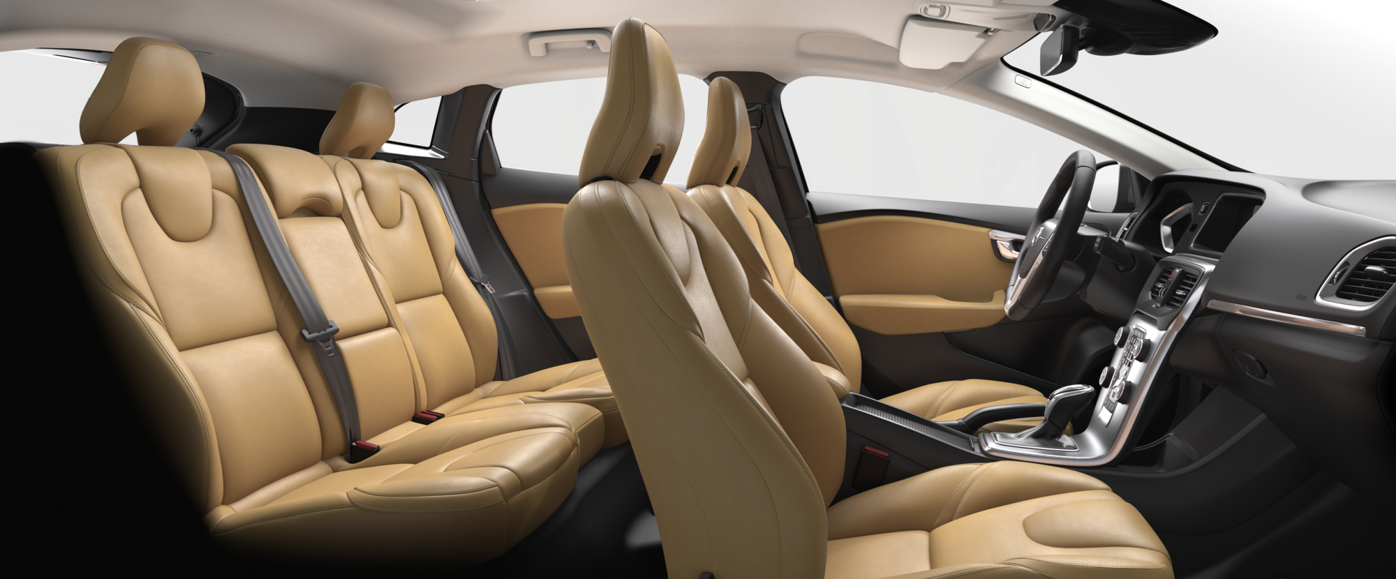 Interior shot of the Volvo V40 with Amber Leather Seats