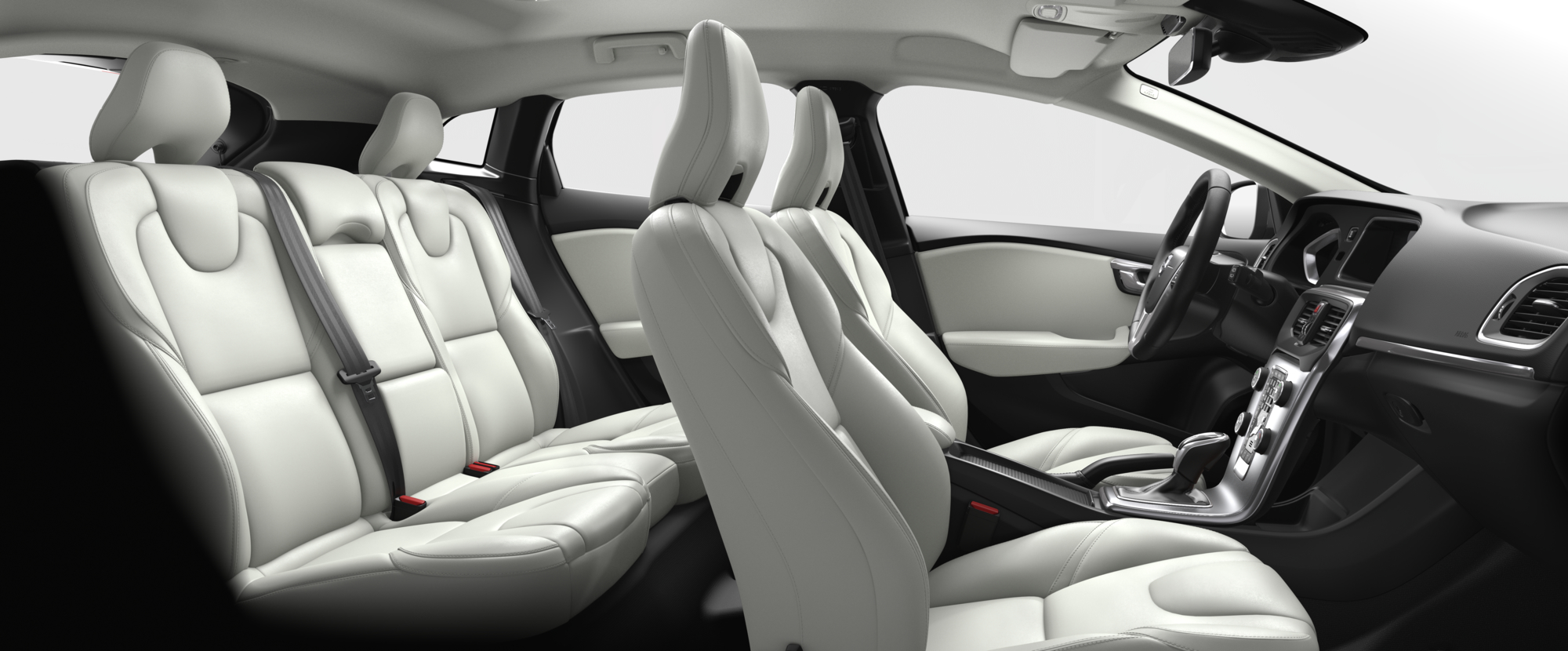 Interior shot of the Volvo V40 with Blond / Charcoal Leather Seats