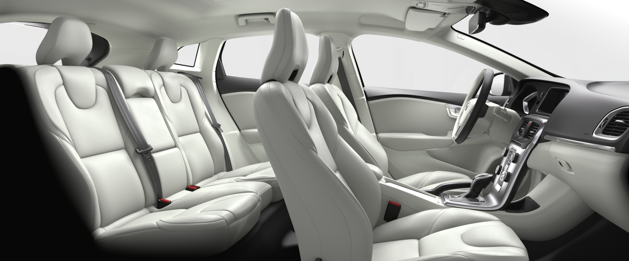 Interior shot of the Volvo V40 with Blond Leather Seats