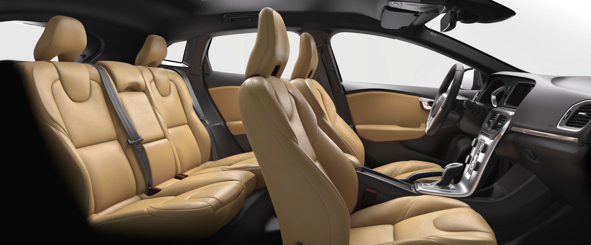 Interior shot of the Volvo V40 with Amber / Charcoal Leather Seats