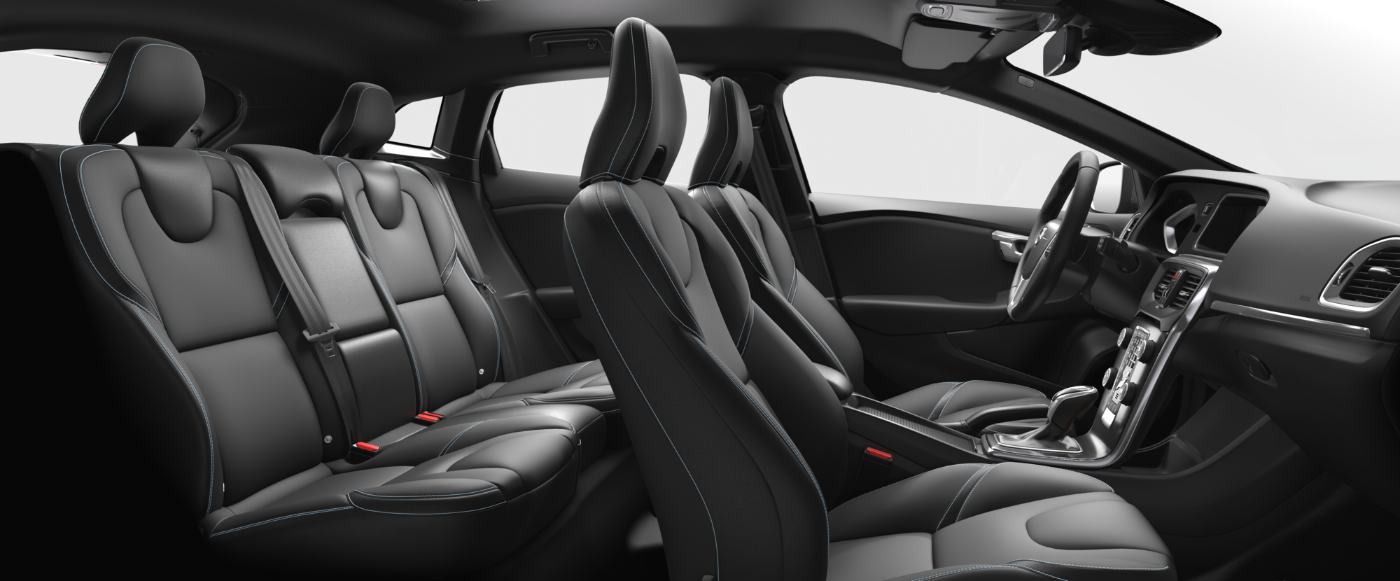 Interior shot of the Volvo V40 with Charcoal T-Tec Seats