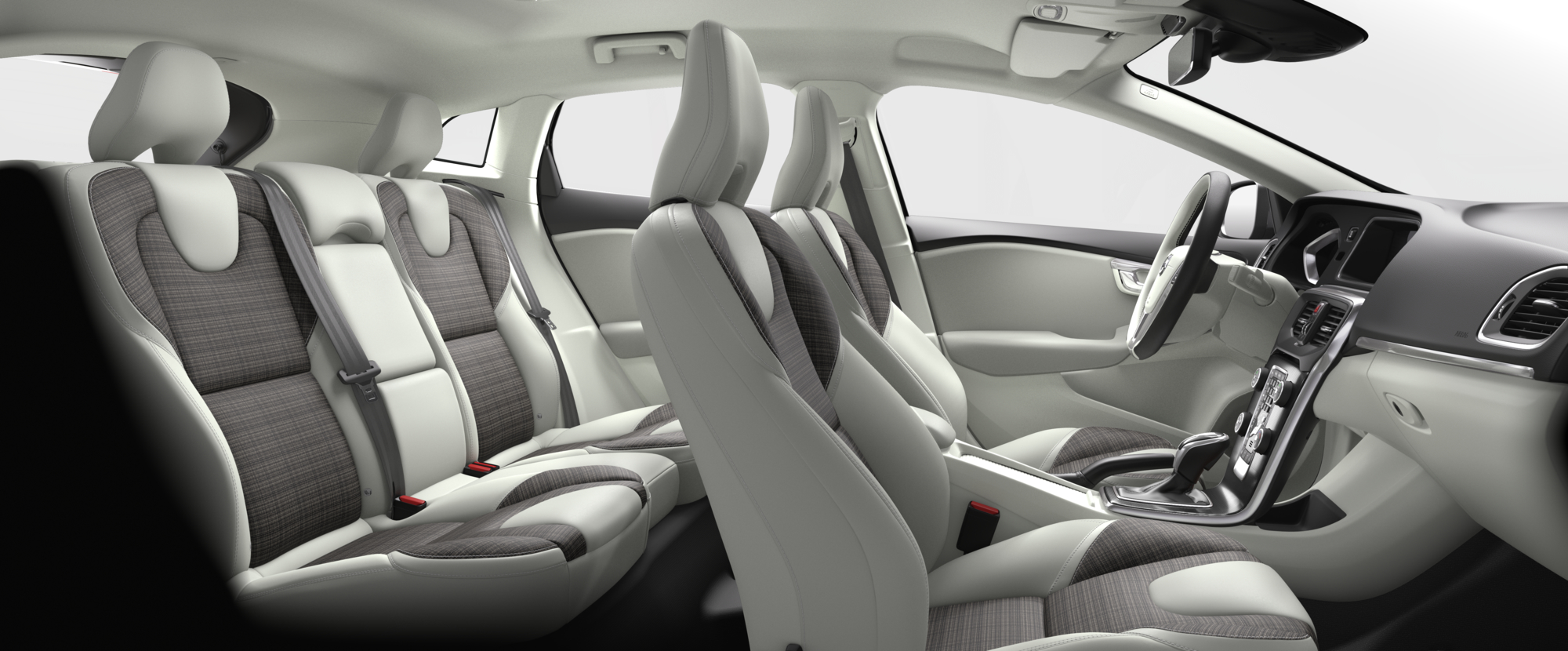 Interior shot of the Volvo V40 with Blond City Weave Textile Seats