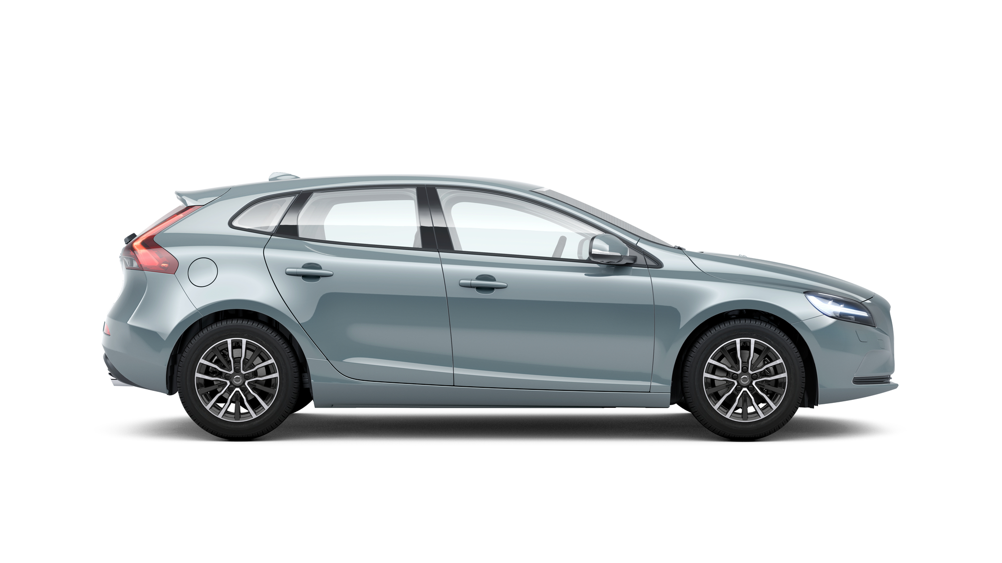 Side photo of the Volvo V40 in Amazon Blue
