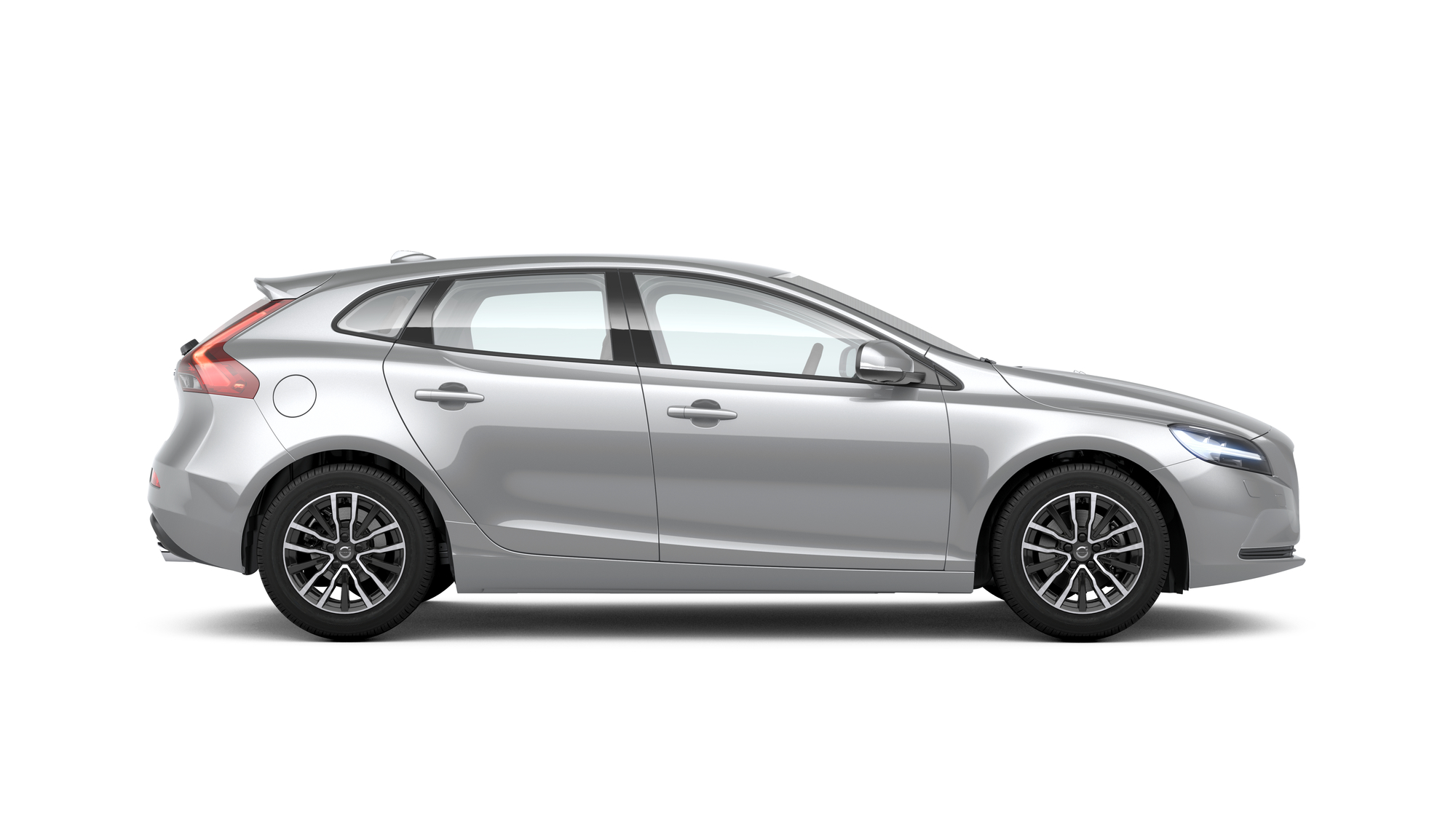 Side photo of the Volvo V40 in Bright Silver
