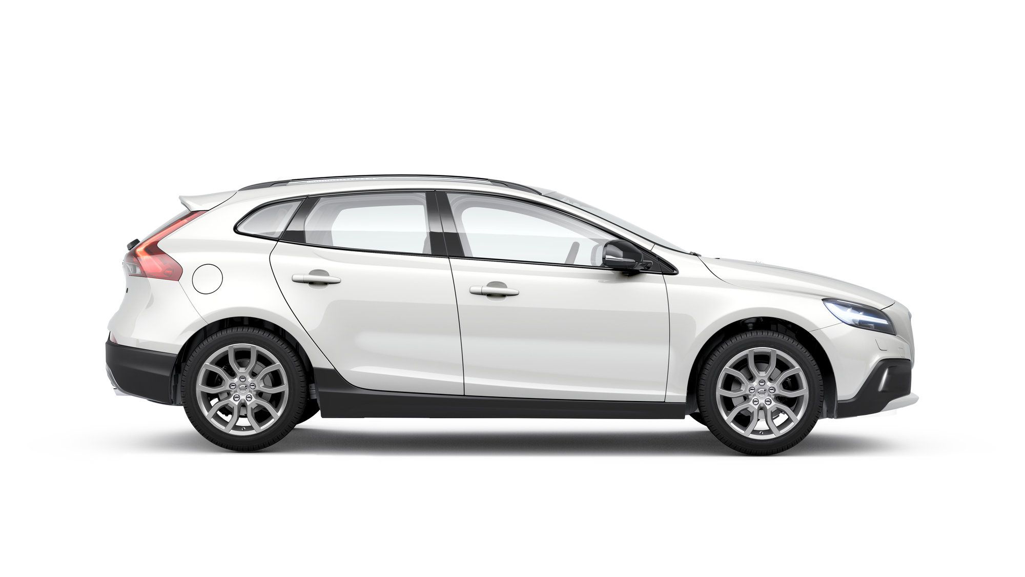 Side photo of the Volvo V40 Cross Country in Crystal White
