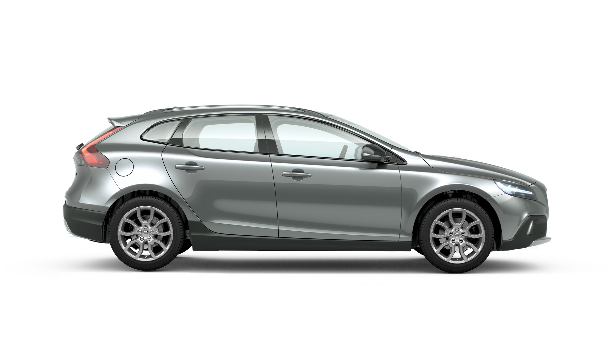Side photo of the Volvo V40 Cross Country in Electric Silver