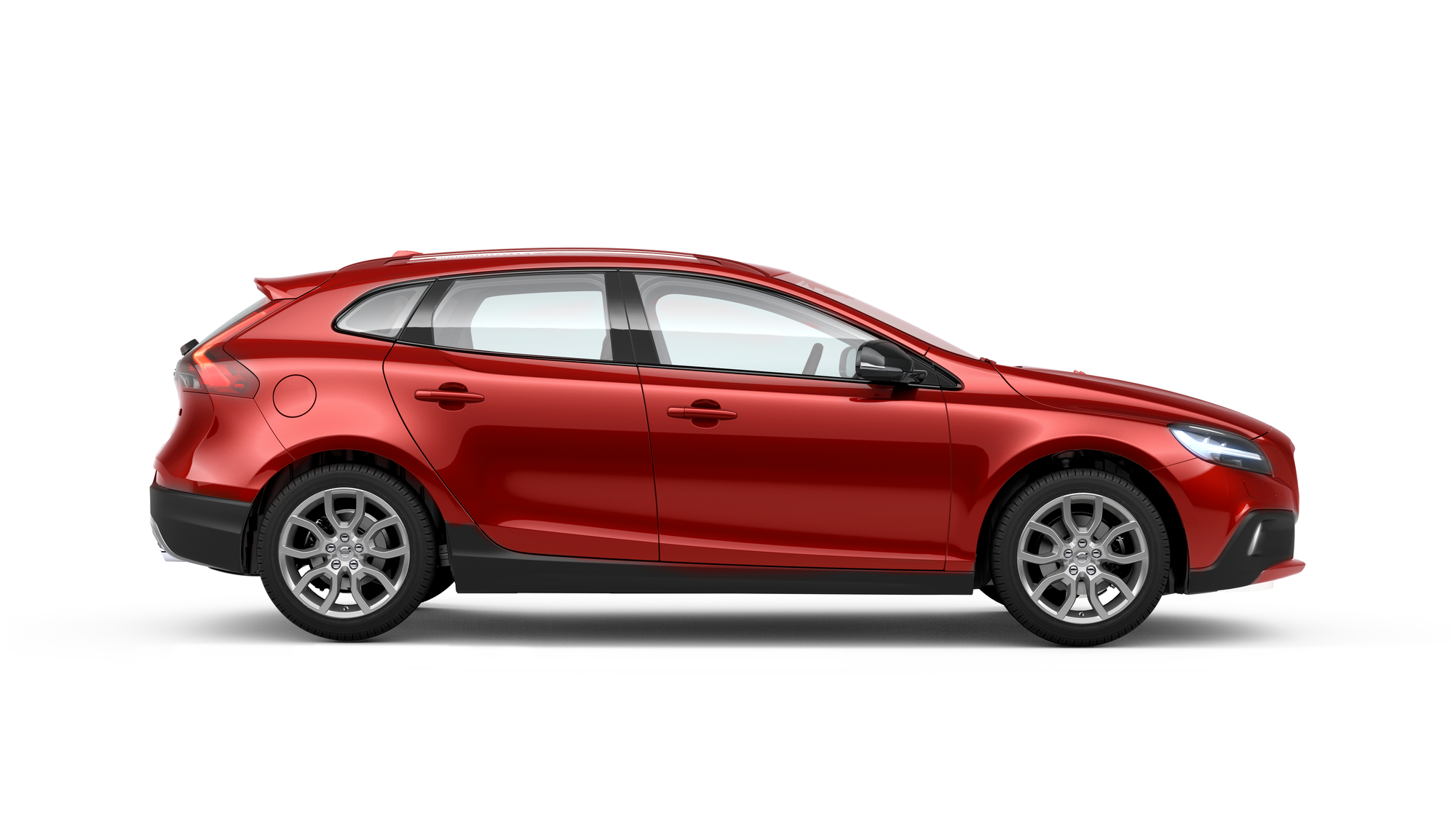 Side photo of the Volvo V40 Cross Country in Flamenco Red