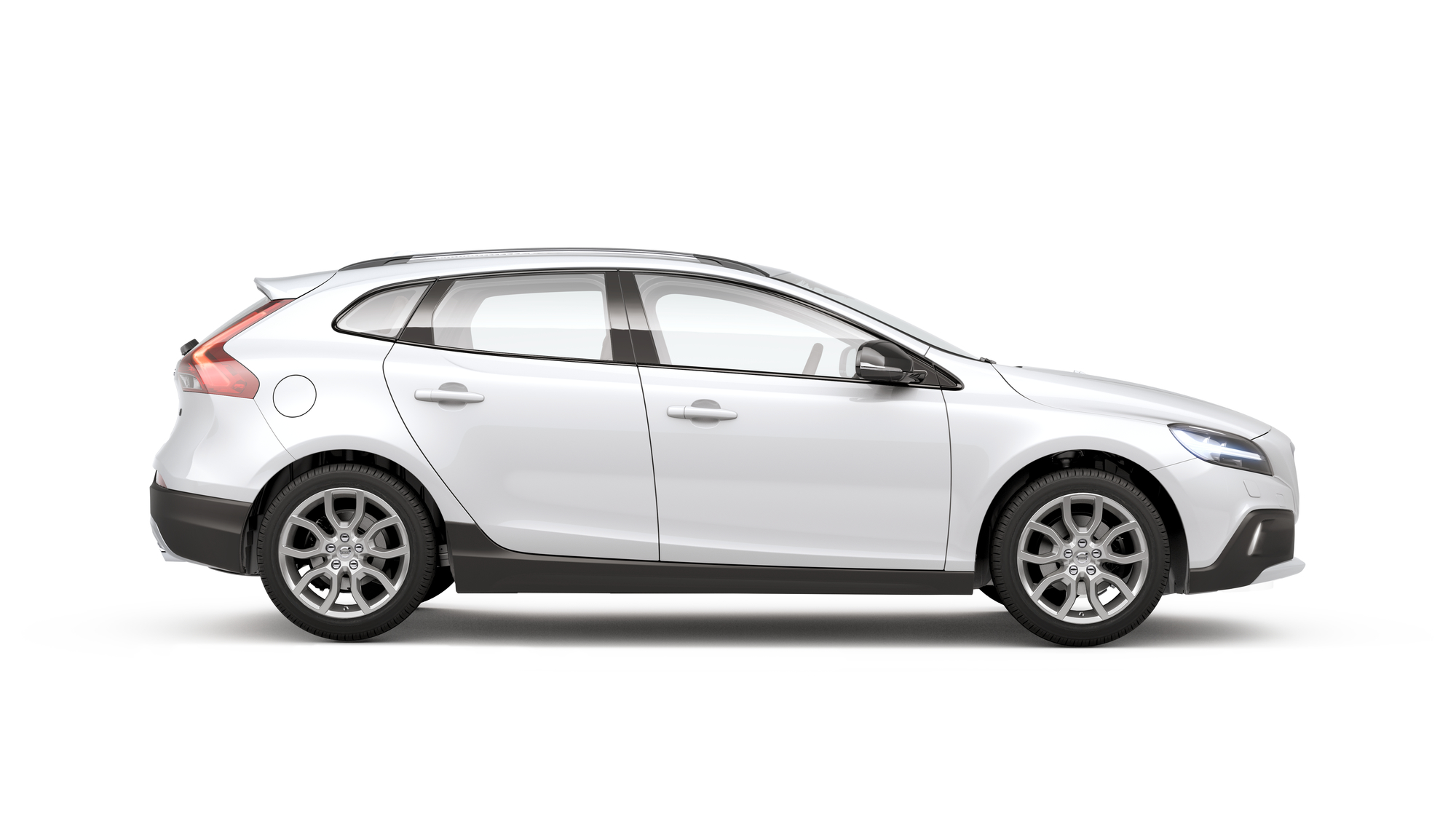 Side photo of the Volvo V40 Cross Country in Ice White