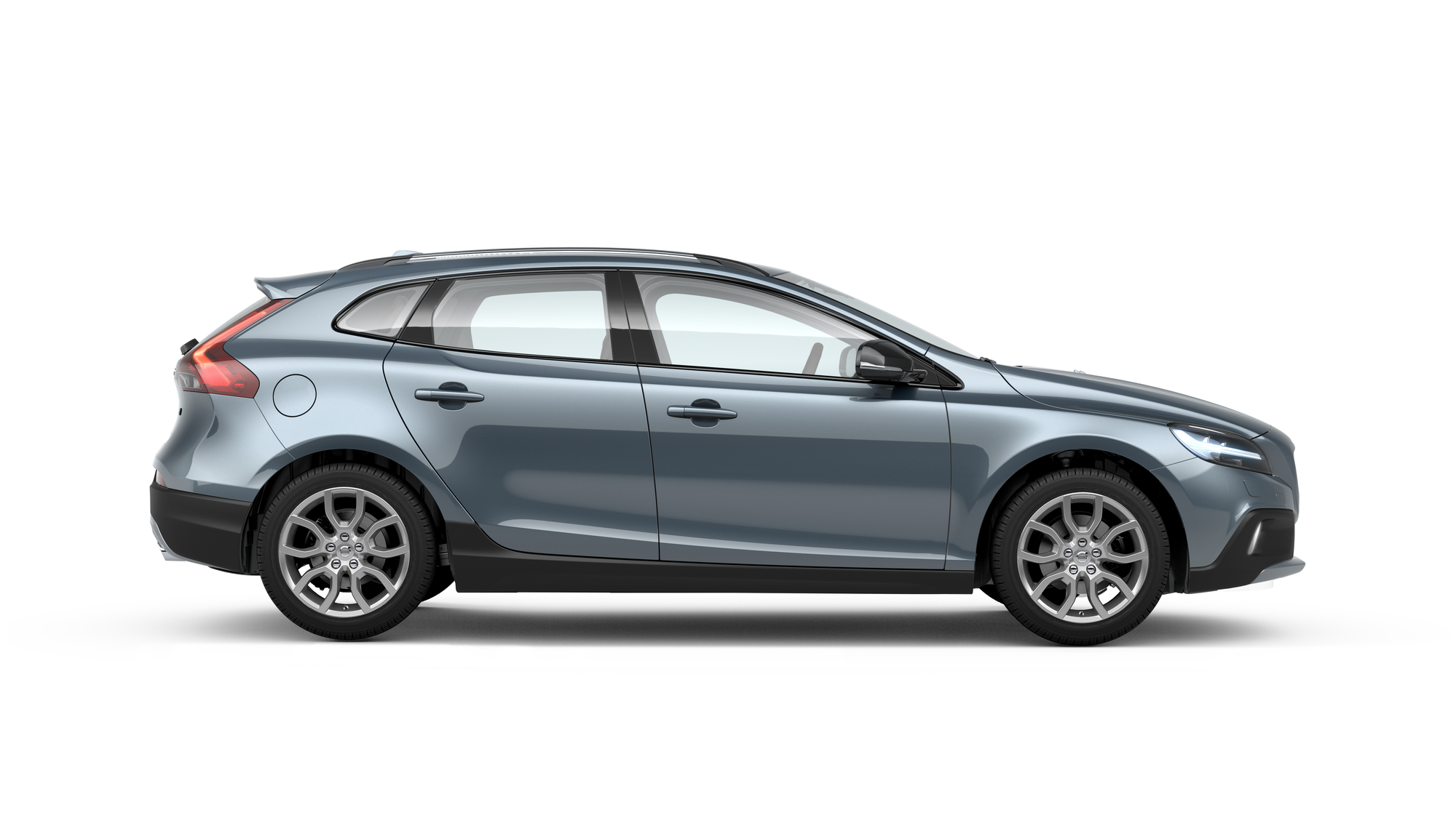 Side photo of the Volvo V40 Cross Country in Mussel Blue
