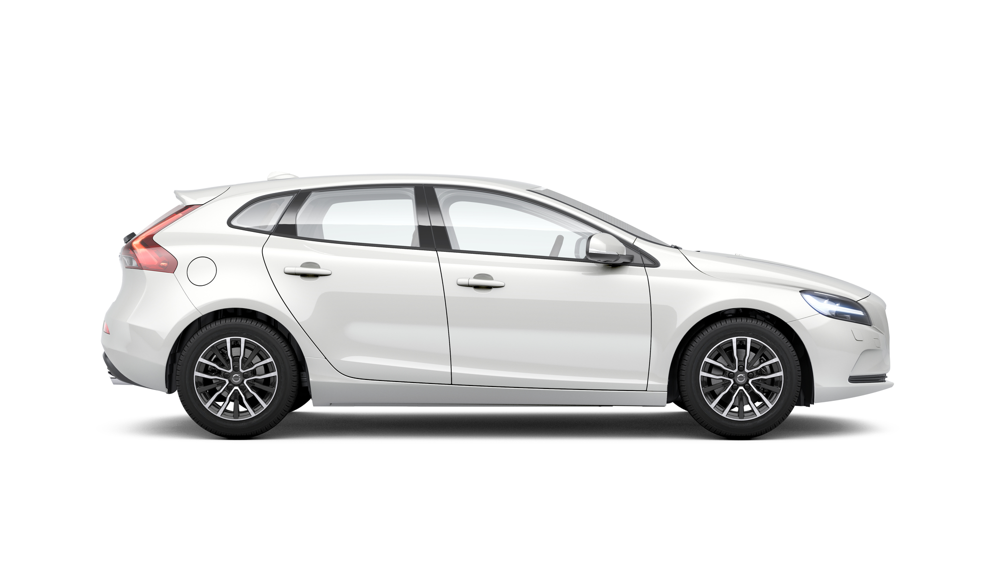 Side photo of the Volvo V40 in Crystal White