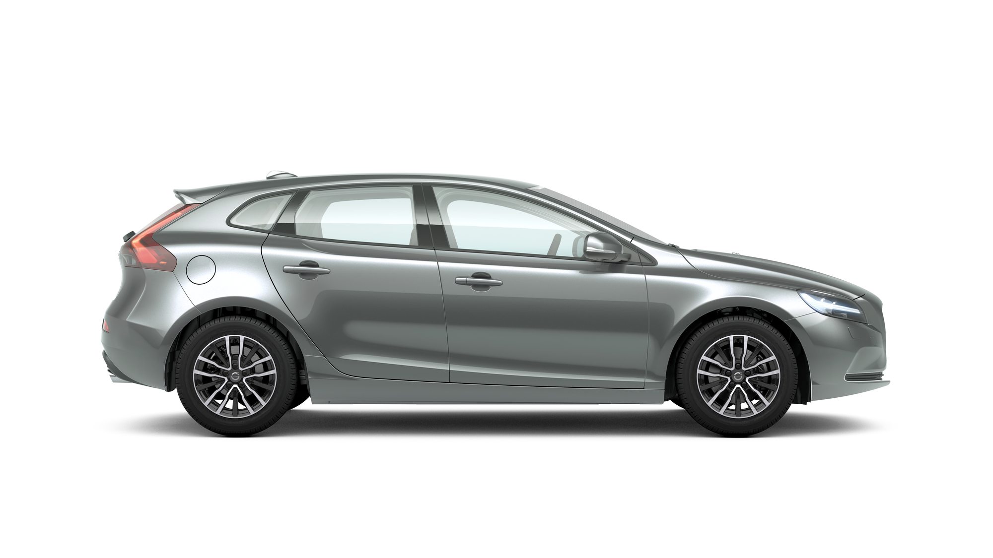 Side photo of the Volvo V40 in Electric Silver