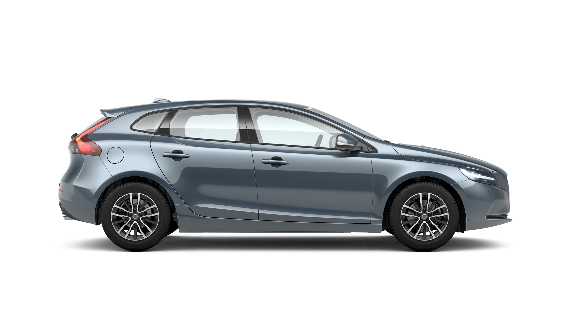 Side photo of the Volvo V40 in Mussel Blue