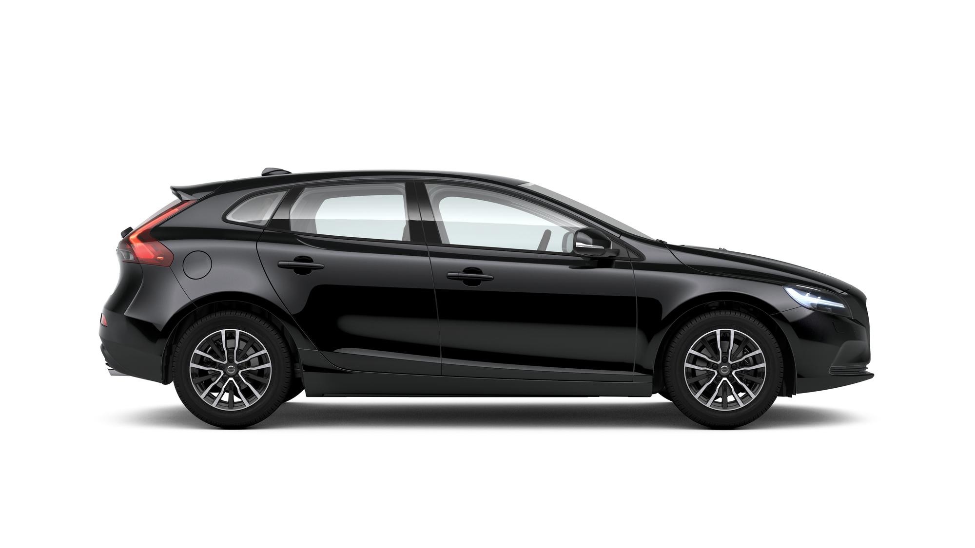 Side photo of the Volvo V40 in Onyx Black