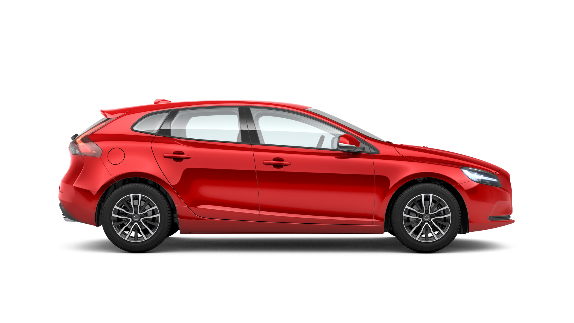 Side photo of the Volvo V40 in Passion Red