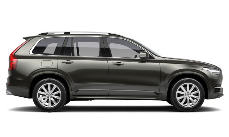 Side photo of the Volvo XC90 in Pine Grey Momentum