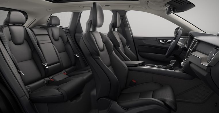 Interior shot of the Volvo XC60 Inscription with Agnes Ventilated Charcoal Leather Seats