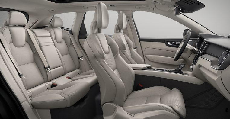 Interior shot of the Volvo XC60 Inscription with Agnes Ventilated Blond / Charcoal Leather Seats