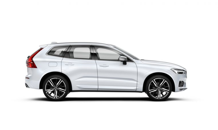 Side photo of the Volvo XC60 R-Design in Crystal White