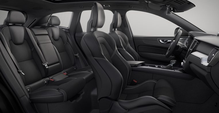 Interior shot of the Volvo XC60 R-Design with Charcoal Leather Nubuck Seats
