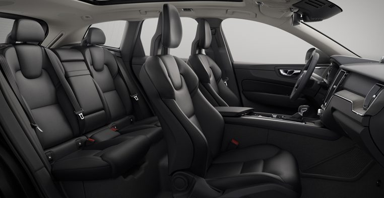 Interior shot of the Volvo XC60 with Moritz Charcoal Leather Seats