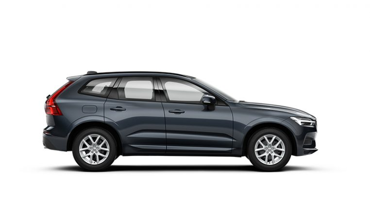 Side photo of the Volvo XC60 Momentum in Denim Blue